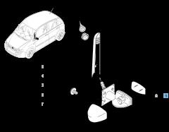 Specchietto retrovisore esterno sinistro, manuale, con sensore di temperatura