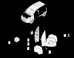 Specchietto retrovisore esterno sinistro per Fiat Professional Fiorino