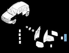 Specchietto retrovisore esterno sinistro per Fiat Panda