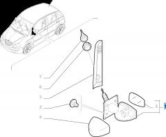 Specchietto retrovisore esterno sinistro, manuale