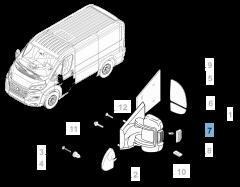 Indicatore di direzione laterale su specchietto sinistro per Fiat e Fiat Professional