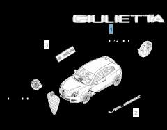 Sigla modello Giulietta posteriore per Alfa Romeo Giulietta