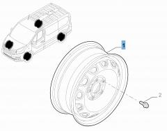 Cerchio in acciaio da 6J x 16'' ET 50 per Fiat Professional Talento