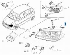 Faro anteriore destro completo di fendinebbia per Fiat e Fiat Professional