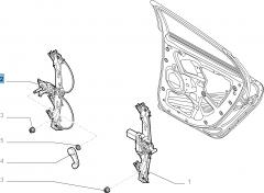 Alzacristallo manuale posteriore destro per Fiat e Fiat Professional