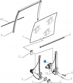 Alzacristallo elettrico adatto a porta scorrevole laterale destra