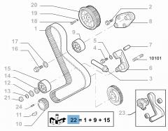 Kit Distribuzione (cinghia, tendicighia fisso e regolabile) - 3 pz per Fiat Professional Ducato