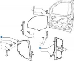 Alzacristallo meccanico anteriore destro per Fiat e Fiat Professional