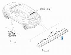 Fanale posteriore terzo stop su supporto ruota di scorta per Fiat 500X