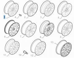 Cerchio in lega 6.5J x 16'' H2 ET 35 per Abarth 500