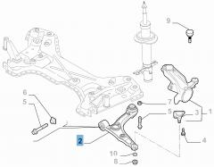 Braccio oscillante sinistro per sospensione anteriore per Fiat e Fiat Professional