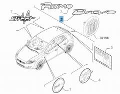 Sigla modello Bravo posteriore per Fiat Bravo