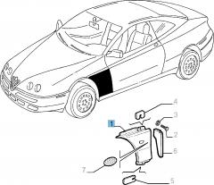 Parafango anteriore sinistro per Alfa Romeo GTV e Spider