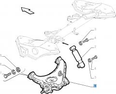 Braccio oscillante sinistro per sospensione posteriore per Fiat e Fiat Professional