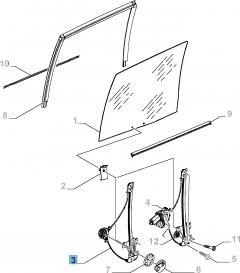 Alzacristallo manuale adatto a porta scorrevole laterale sinistra