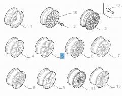 Cerchio in lega 7J x 16'' per Alfa Romeo Giulietta