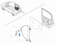 Alzacristallo posteriore destro per Fiat e Fiat Professional