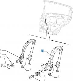 Alzacristallo elettrico posteriore destro per Alfa Romeo 147
