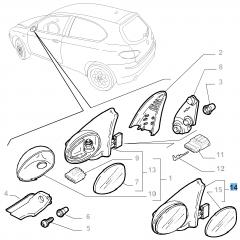 Specchietto retrovisore esterno destro per Alfa Romeo 147