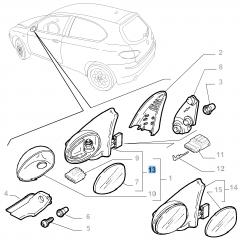 Specchietto retrovisore esterno destro elettrico per Alfa Romeo 147
