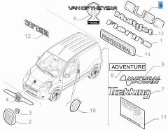 Sigla modello Qubo posteriore per Fiat Professional