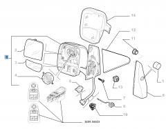 Specchietto retrovisore esterno destro elettrico per Fiat Professional Scudo