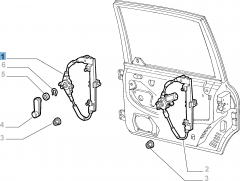 Alzacristallo manuale posteriore sinistro per Fiat e Fiat Professional